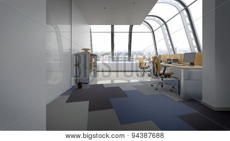 Open Concept Office Space with Row of Computer Desks with Chairs in Urban Penthouse, Rounded Windows Overlooking City. 3d Rendering