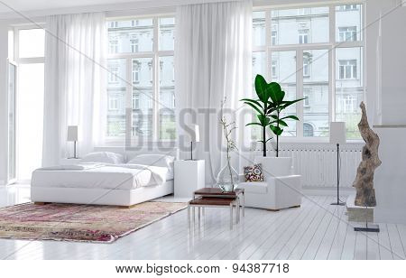 Modern monochromatic bedroom interior in an apartment with large view windows and a double bed alongside an exterior door, bright spacious and sunny. 3d Rendering.