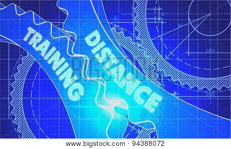 Distance Training Concept. Blueprint of Gears.