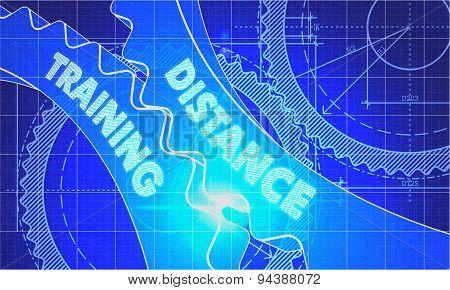 Distance Training Concept. Blueprint of Gears.