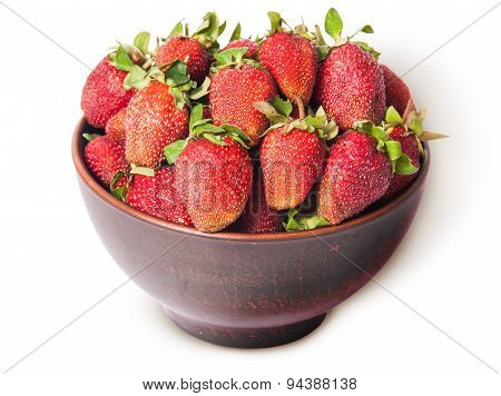 Ripe Juicy Strawberries In A Ceramic Bowl Top View