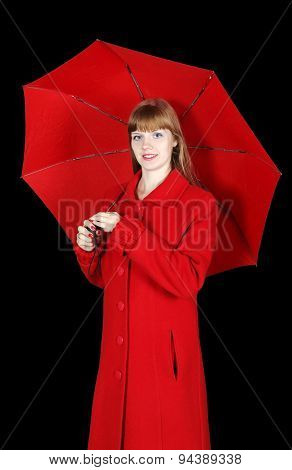 Young Woman In Red Overcoat With Umbrella Isolated On Black Background
