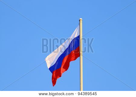Evolving In Wind Flag Of Russian Federation On Bright Sunny Day