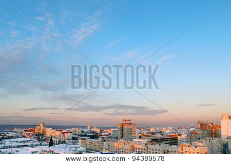 Panoramic Views Of City On Background Beautiful Blue Sky On Winter Day