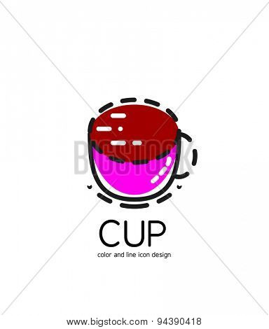 Color line icon for flat design isolated on white. Cup