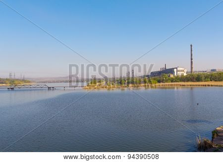 View Zuevsky Reservoir In The Donetsk Region. Ukraine