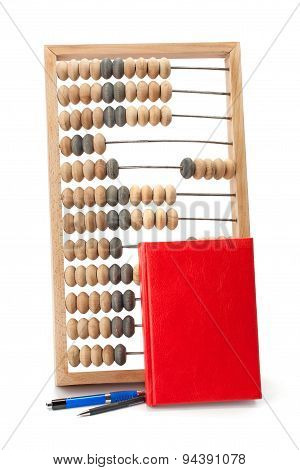 Old Wooden Abacus Notebook And Pen