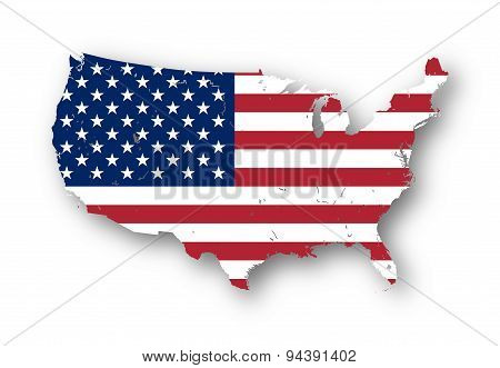 Map Of The Usa With American Flag.