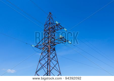 Volt Wiring Electricity Post On Blue Sky