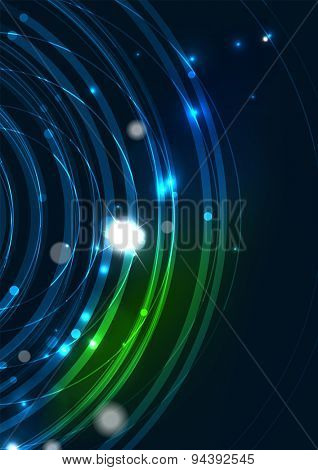 Abstract color glowing lines in dark space with stars and light effects. Futuristic circle background with copyspace for your message