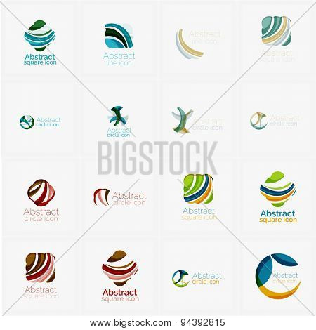 Abstract company logo mega collection, typography letters and other elements, waves, lines. Various universal icon set for any idea