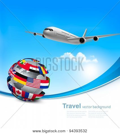 Travel background with an airplane and a globe made of flags. Vector.