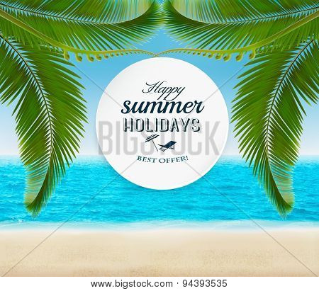 Summer holidays background with palm leaves. Vector.