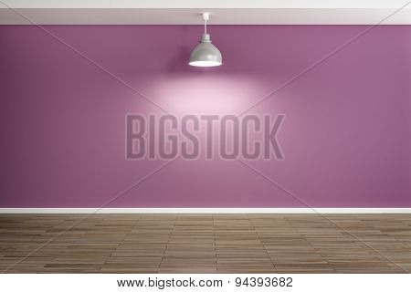 An image of an empty purple room with a lamp