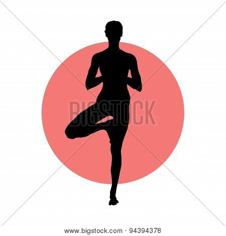 Girl in yoga pose on the circle background.