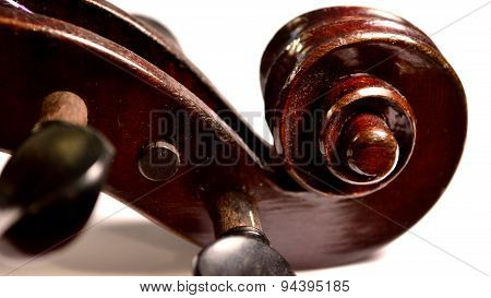 Dark Violin Scroll Against White Background, Letterbox