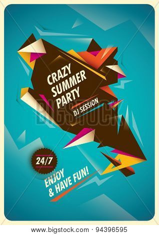 Summer party poster with colorful abstraction. Vector illustration.
