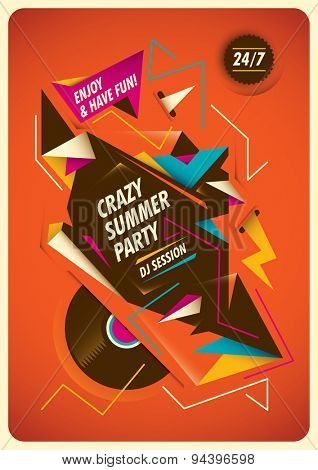 Abstract poster for summer party. Vector illustration.