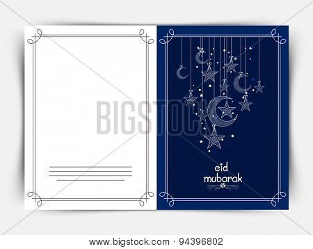 Beautiful greeting card design decorated with hanging crescent moon and stars on blue background for famous festival of Muslim community, Eid Mubarak celebration.
