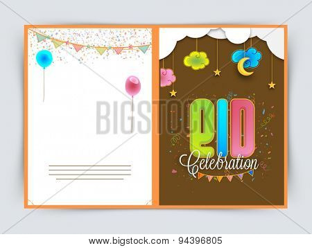 Beautiful greeting card design decorated with cloud, moon and stars for famous Islamic festival, Eid celebration.