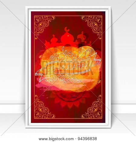Beautiful floral design decorated greeting card with creative mosque for famous festival of Muslim community, Eid Mubarak celebration.