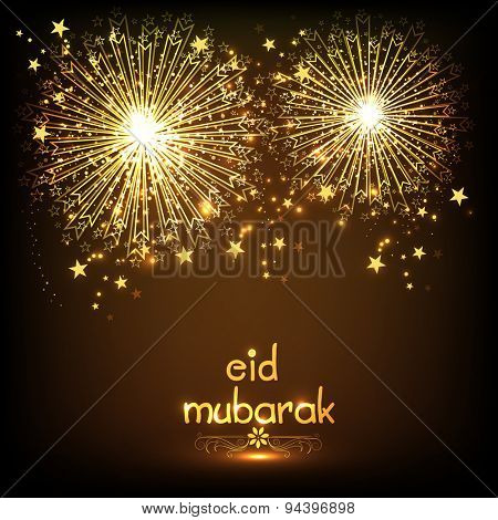 Elegant greeting card design decorated with golden firecrackers on shiny brown background for holy festival of Muslim community, Eid Mubarak celebration.