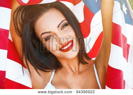 Sexy Woman Portrait With Usa Flag In Sunset
