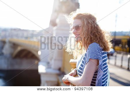 Redhead Woman On Margaret Bridge
