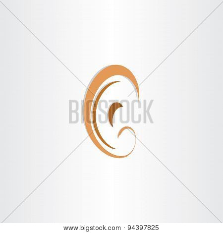 Human Ear Abstract Stylized Symbol