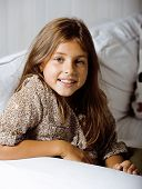 image of 11 year old  - little cute brunette girl at home smiling close up 7 years old - JPG