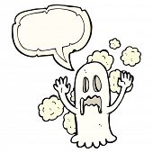 pic of spooky  - cartoon spooky ghost with speech bubble - JPG