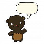 stock photo of bear cub  - cartoon waving black bear cub with speech bubble - JPG