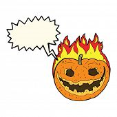 image of spooky  - cartoon spooky pumpkin with speech bubble - JPG