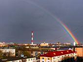 stock photo of chimney  - The Factory chimneys and rainbow - JPG