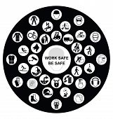 picture of ppe  - Black and white construction manufacturing and engineering health and safety related circular icon collection isolated on black background with work safe message - JPG