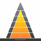 foto of pyramid  - Vector pyramid infographic shows growth with gradient fill - JPG