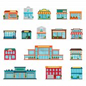picture of supermarket  - Stores and supermarkets big and small buildings icons set flat isolated vector illustration - JPG