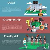 Постер, плакат: Soccer sport banners set