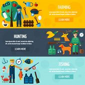 pic of hunter  - Fisherman hunter and farmer with accessories flat horizontal banner set isolated vector illustration - JPG