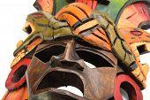 image of anaconda  - Indian Mayan Aztec wooden mask with anaconda and jaguar isolated on white background - JPG