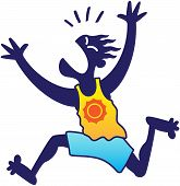 image of yell  - Silhouetted blue man wearing a yellow tank and blue shorts while looking scared - JPG