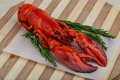picture of lobster tail  - Boiled Lobster with rosemary branches on the wooden background - JPG