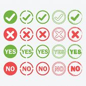 foto of yes  - Yes and No circle icons in silhouette and outline styles set - JPG