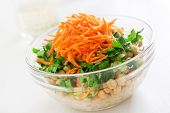 stock photo of chickpea  - Salad with chickpeas bulgur and carrots - JPG