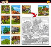 picture of brain-teaser  - Cartoon Illustration of Education Jigsaw Puzzle Game for Preschool Children with Wild Animals Characters Group - JPG