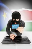 picture of sudan  - Cyber crime concept with flag on background  - JPG