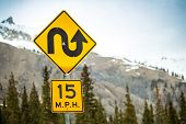 picture of curvy  - Curvy road sign an 15 m - JPG