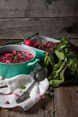 image of chives  - Beetroot soup with chives and radishes on the boards - JPG