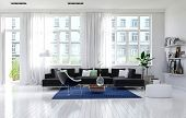 picture of memento  - Contemporary monochromatic white living room interior with large windows - JPG