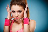 stock photo of handcuff  - Teen crime arrest and jail  - JPG